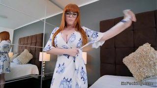 Redhead girlfriend takes control on big cock