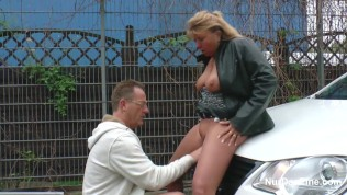 German mom get fucked on street like whore for money